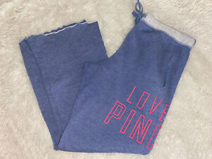 PINK Victoria's Secret Sweatpants Slouchy Over Sized Logo Blue Medium M Large L