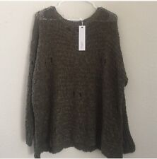 LF millau olive green distressed oversized cotton crochet knit sweater NWT sz S