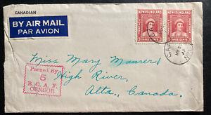 1943 Newfoundland CAPO 5 Airmail Censored Cover To High River Canada