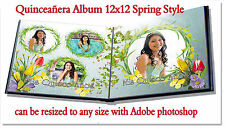 "Photoshop Quinceañera Templates PSD 12x12"" Album,Spring,Red Rose,Purple"