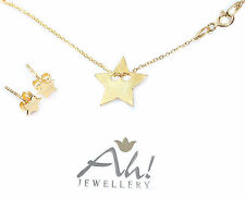 Celebrity Star Necklace And 6mm Earring 24K Gold Over Sterling Silver Set.