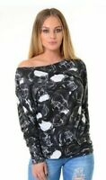 WOMEN LADIES LONG SLEEVE OFF SHOULDER ANIMAL LEOPARD PRINT BATWING TOP