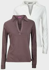 'Wombat' Ladies Womens Long Sleeve Top Long Sleeves V-neck pointed Collar Shirt