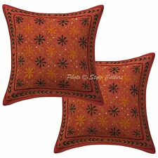 """Indian Pillow Case Covers Sequins Gold Zari Embroidered 16"""" Cushion Cover Throw"""