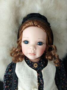 "19"" Amish woman porcelain doll Auburn hair color blue eyes so beautiful"
