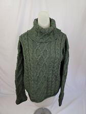 ARAN CRAFTS Green Wool Irish ARAN FISHERMAN Turtleneck Sweater Womens Large