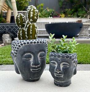 Concrete Buddha Head Plant Pot Stoneware Vase Decorative Novelty Gift Planter