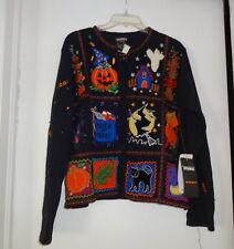 Vtg Cat Pumpkin Patch Ugly  Christmas Hallowen Sweater Size M