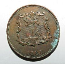 Rare British North Borneo 1/2 Cent 1887 H