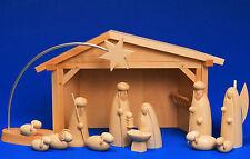 Große Weihnachts-Krippe Cristi Geburt im Stall + LED Stern Schalling Erzgebirge