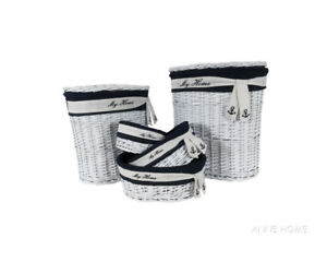 Nautical Wicker Willow Coastal Storage Oval Baskets Set of 5 Beach House Decor