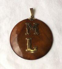 ANTIQUE HAWAIIAN KOU 14K GOLD PENDANT calabash artifact vintage old koa