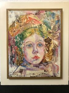🔥 Antique Mid Century Modern Abstract Oil Painting Portrait - Gerda B. With