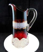 "GEORGE DUNCAN BUTTON ARCHES RUBY STAIN & GOLD BAND LARGE 11 1/8"" TANKARD PITCHER"