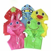 Toddler Rain Jacket Girls Boys Cartoon Raincoat Waterproof Hooded Long Rainwear
