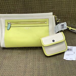 NWT Coach Legacy Two Tone Leather Clutch & Card Case SV/Parchment/Citrine