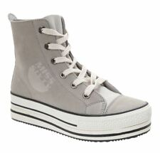miss sixty grey distressed suede leather platform hi sneakers, size 4