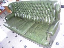 Sofa Chesterfield 3-Sitzer Echtleder grün Sitzmöbel Ledercouch Sessel Garnitur