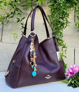 Coach 36464 edie leather Shoulder Bag purse hobo handbag OXBLOOD purple satchel