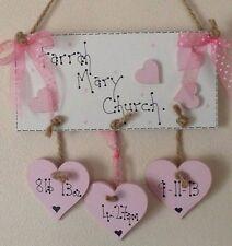 shabby chic personalised baby girl birth christening keepsake plaque sign gift