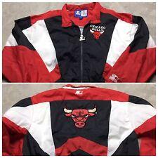 CHICAGO BULLS 90s VTG STARTER Windbreaker Jacket M Big Logo OG COLORBLOCK NBA