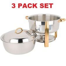 3 Pack Stainless Steel Deluxe Buffet Catering 8 Qt Round Gold Accent Soup Chafer