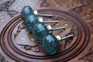 Glass Door Knob Black Drawer/Wardrobe/Cabinet Handle Ball Knob Vintage Decor Art