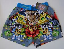 $38.00 Ed Hardy Men's Boxer Shorts Button Fly Design Skulls & Money Print Small