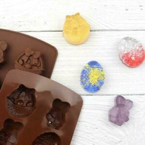 8Easter Bunny Egg Rabbit Silicone Moulds Chocolate Fondant Jelly Ice Molds F4N6