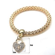 Womens Heart Love Pendant Gold Silver Rose gold Rhinestone Bracelet Bangle Gifts