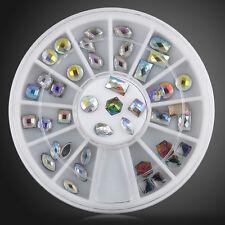 36pcs 12 Sytles 3D Glitter Rhinestone Crystal Nail Art Tips Decorations Wheel