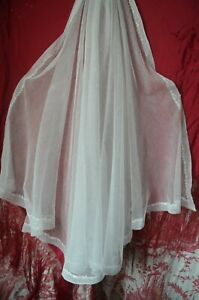 Antique hand embroidered Cornely stitch net tulle veil