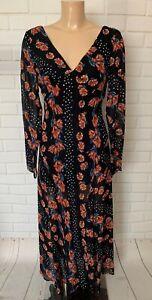 Beautiful Black Floral Print Chiffon Long Dress Size 8 - 16