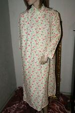 Langes weiches Vintage Wohlfühl - Negligee Nachtkleid weiß rosa grün m94 /  L