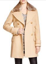Vince Fur Collar Coat Sz 2 NWT Almond ($995 Retail)