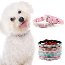Bling Rhinestone Pet Dog Collar Soft Leather Necklace for Small Puppy Cat Yorkie