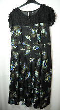 BLACK BLUE YELLOW FLORAL LADIES PARTY EVENING COCKTAIL DRESS SKATER SIZE 14 M&CO