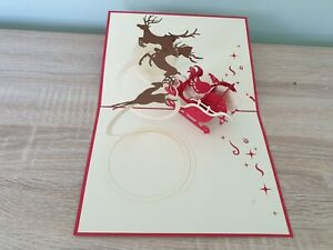 3d Popup Father Christmas And Reindeer Card