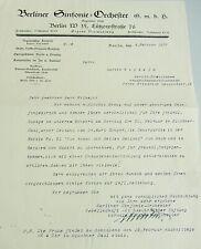 Berliner Sinfonie-Orchester (Nachfolger Blüthner-Orchester): Brief 1927 an Tenor