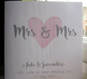 Handmade Personalised Mrs & Mrs Same Sex Lesbian Wedding Day Card