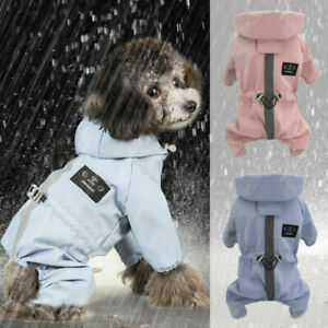 Dog Raincoats Waterproof with Harness Hole Legs Hoodie Small Dog Pet Rain Jacket