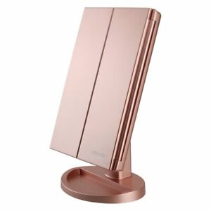 Tri-Fold Vanity Mirror with 21 LED Lights Touch Screen and 3X Magnification