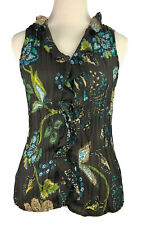 Allison Taylor Sleeveless Accordion Pleats Stretch Printed Button Top - Size S