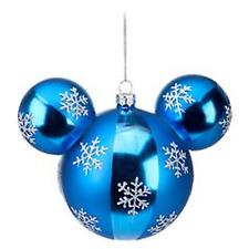 Parques de Disney de las orejas de Mickey Mouse icono copo de nieve Ornamento de Globo Azul Nuevo en Caja