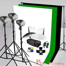 540W Studio Lighting Flash Kit White Black Green Background Clamps Screen Stand