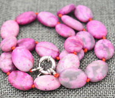 "13x18mm pink Crazy Lace Agate Gems Oval Beads Necklace 18""##KH007"
