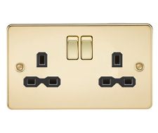 Flat plate 13A 2G DP switched socket - polished brass with black insert