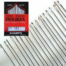 NEW 20 HOUSEHOLD HAND SEWING NEEDLES ASSORTED SIZES 3/9 EMBROIDERY WOOL NEEDLE