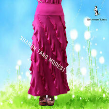 SHARON TANG Modest Apparel Long Pink Stretch Knit Layer Pipe Edge Maxi Skirt S