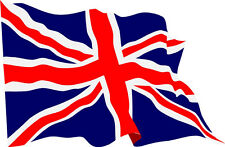 Waving Union Jack flag vinyl stickers X 4 decals FREE P&P